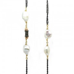 Collar Perlas Diamantes Brown