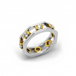 Anillo Bicolor Diamantes