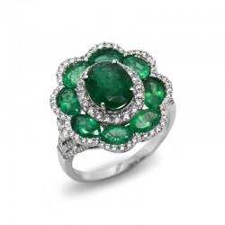 Anillo Esmeraldas Diamantes