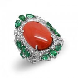 Anillo Diamantes Coral...