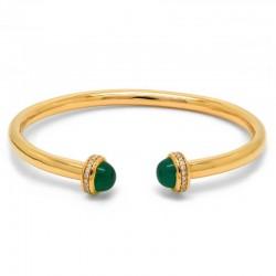 Pulsera Ágata Verde Diamantes