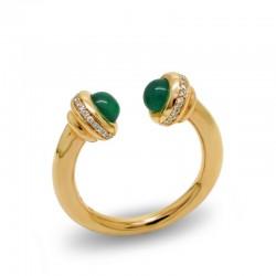 Anillo Ágata Verde Diamantes