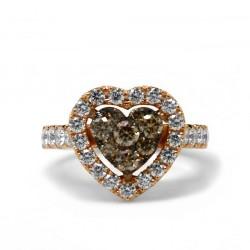 Anillo Corazón Diamantes Brown